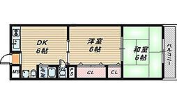 第1三国ヶ丘コーポ[2階]の間取り