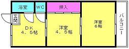 兵庫県加古川市別府町新野辺北町2丁目の賃貸アパートの間取り