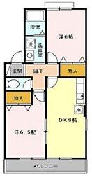 JR川越線 日進駅 徒歩13分の賃貸アパート 1階2DKの間取り