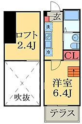 JR総武線 津田沼駅 徒歩7分の賃貸アパート 1階1Kの間取り