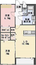愛知県小牧市大字小牧原新田の賃貸アパートの間取り