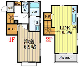 JR中央線 国分寺駅 徒歩20分の賃貸テラスハウス 2階1LDKの間取り
