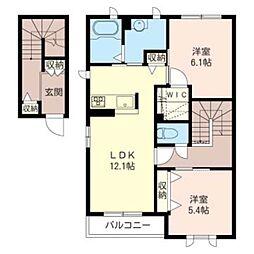 フラワーハイツ平戸 B[2階]の間取り