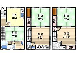 [一戸建] 大阪府大阪市阿倍野区西田辺町2丁目 の賃貸【/】の間取り