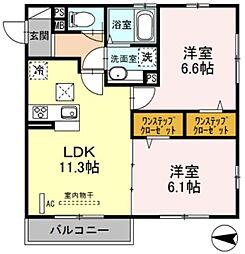 プレミール・イダ 3階2LDKの間取り