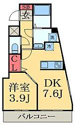JR京葉線 蘇我駅 徒歩3分の賃貸マンション 2階1DKの間取り