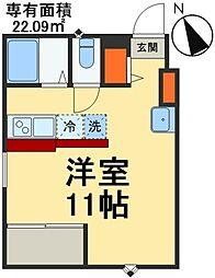 JR総武線 稲毛駅 徒歩5分の賃貸アパート 1階ワンルームの間取り