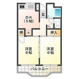 愛知県豊橋市南栄町字東山の賃貸アパートの間取り