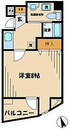 JR中央線 日野駅 徒歩1分の賃貸マンション 5階1Kの間取り