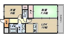 大阪府堺市西区鳳北町9丁の賃貸マンションの間取り