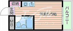 阪急千里線 吹田駅 徒歩9分の賃貸マンション 2階ワンルームの間取り