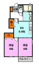 茨城県筑西市下川島の賃貸アパートの間取り