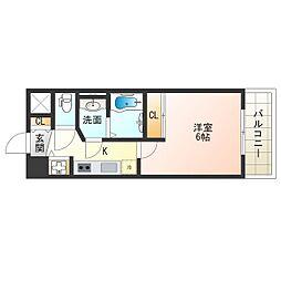 JR大阪環状線 福島駅 徒歩6分の賃貸マンション 3階1Kの間取り