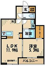 仮)D-room府中町2丁目 2階1LDKの間取り