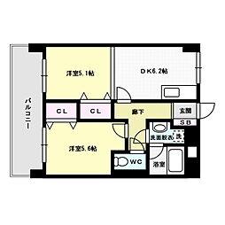 福岡県福岡市博多区山王1丁目の賃貸マンションの間取り