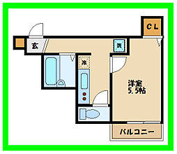 リブリ・宮坂 1階1Kの間取り