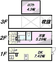 [タウンハウス] 東京都八王子市山田町 の賃貸【/】の間取り