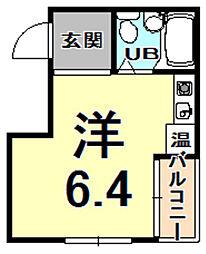 グローバル武庫川学院前 2階ワンルームの間取り