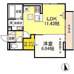 京王相模原線 若葉台駅 徒歩20分の賃貸アパート 1階1LDKの間取り