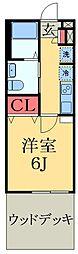 千葉都市モノレール 千城台北駅 徒歩4分の賃貸アパート 1階1Kの間取り