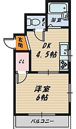 大阪府大阪市城東区新喜多東2丁目の賃貸マンションの間取り