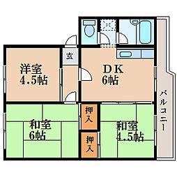 滋賀県栗東市小柿9丁目の賃貸マンションの間取り