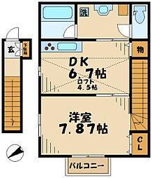京王相模原線 京王多摩センター駅 徒歩14分の賃貸アパート 2階1DKの間取り