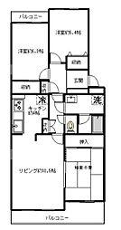 神奈川県横浜市青葉区もえぎ野の賃貸マンションの間取り