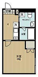 西武池袋線 西所沢駅 徒歩10分の賃貸アパート 1階1Kの間取り