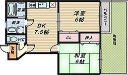 大阪府堺市南区岩室の賃貸アパートの間取り