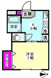 Kハイム 2階1Kの間取り