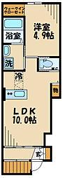ラ・メルヴェーユ 1階1LDKの間取り