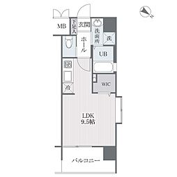 西鉄天神大牟田線 西鉄平尾駅 徒歩8分の賃貸マンション 9階ワンルームの間取り