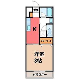 栃木県宇都宮市竹下町の賃貸アパートの間取り