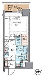 LUXENA青葉台 8階1Kの間取り