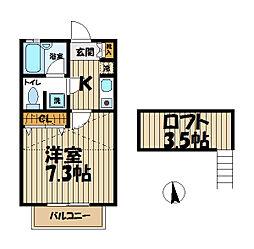 北鎌倉アパートメント[2B号室]の間取り