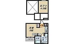 大阪府堺市堺区東湊町3丁の賃貸アパートの間取り