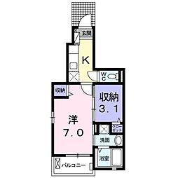 プチフローラ 北野田I 1階1Kの間取り