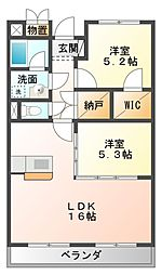 愛知県豊橋市西小鷹野4丁目の賃貸マンションの間取り