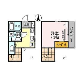 南海高野線 金剛駅 徒歩3分の賃貸アパート 1階1Kの間取り