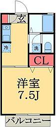 京成千原線 学園前駅 徒歩4分の賃貸アパート 1階1Kの間取り