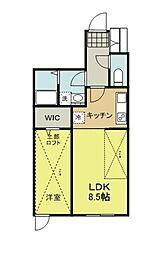 JR横浜線 成瀬駅 徒歩8分の賃貸アパート 1階1LDKの間取り