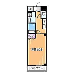 南海高野線 初芝駅 徒歩15分の賃貸マンション 3階1Kの間取り