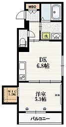 Mervelle oku-ekimae 2階1DKの間取り