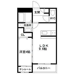 中間島新築マンション[202号室]の間取り