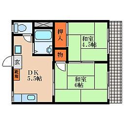 滋賀県東近江市躰光寺町の賃貸アパートの間取り