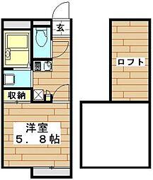 JR高崎線 鴻巣駅 徒歩21分の賃貸アパート 2階1Kの間取り