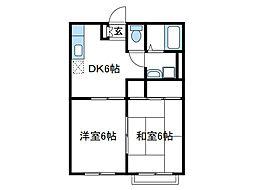 神奈川県海老名市大谷北3の賃貸アパートの間取り