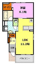 関東鉄道常総線 下妻駅 徒歩14分の賃貸アパート 1階1LDKの間取り