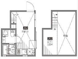 小田急小田原線 祖師ヶ谷大蔵駅 徒歩5分の賃貸アパート 2階ワンルームの間取り